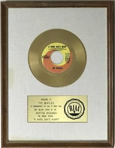 "Beatles ""A Hard Day's Night"" RIAA Gold 45 Award"
