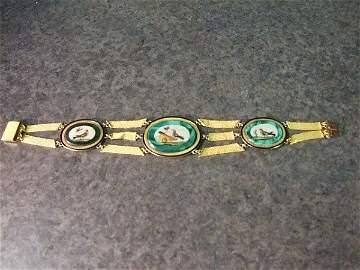 1147: Micro Mosiac Gold Bracelet