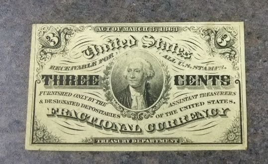 2018: 1864 Three Cent Frac. Currency