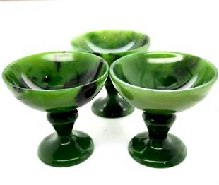 Set of Three Carved Nephrite Cups