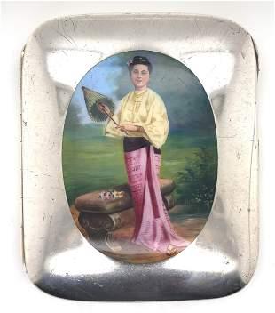 Burmese Enamel Cigarette Case