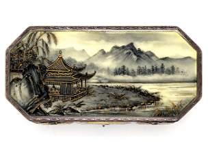 Enamel Cigarette Case, Chinese Scene