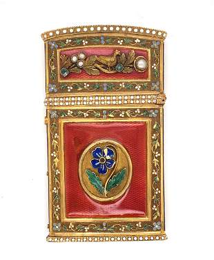 Gold and Enamel Carnet de Bal