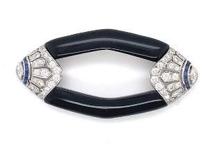 Onyx, Diamond and Sapphire Brooch