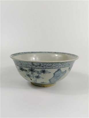 A plant pattern blue and white porcelain bowl