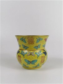 Chinese famille rose Yellow-ground vase with butterflie