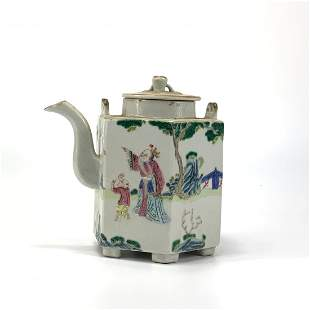 A Famille Rose Hexagonal Teapot