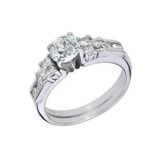 14K 1.41ctw Old European Diamond Wedding Set