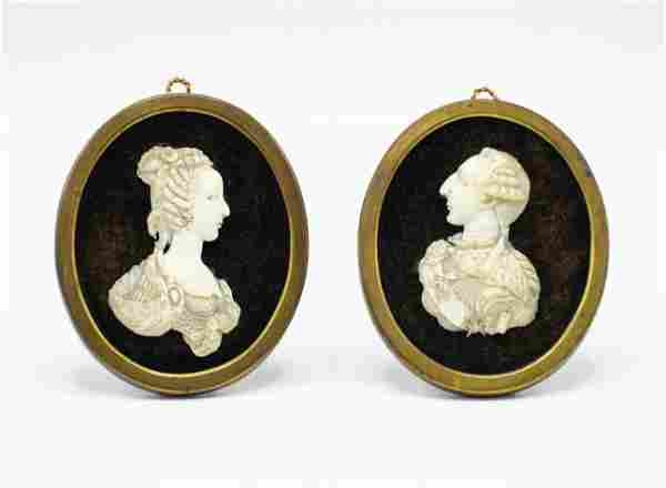 Pair of French Ivory 18th Century Portraits