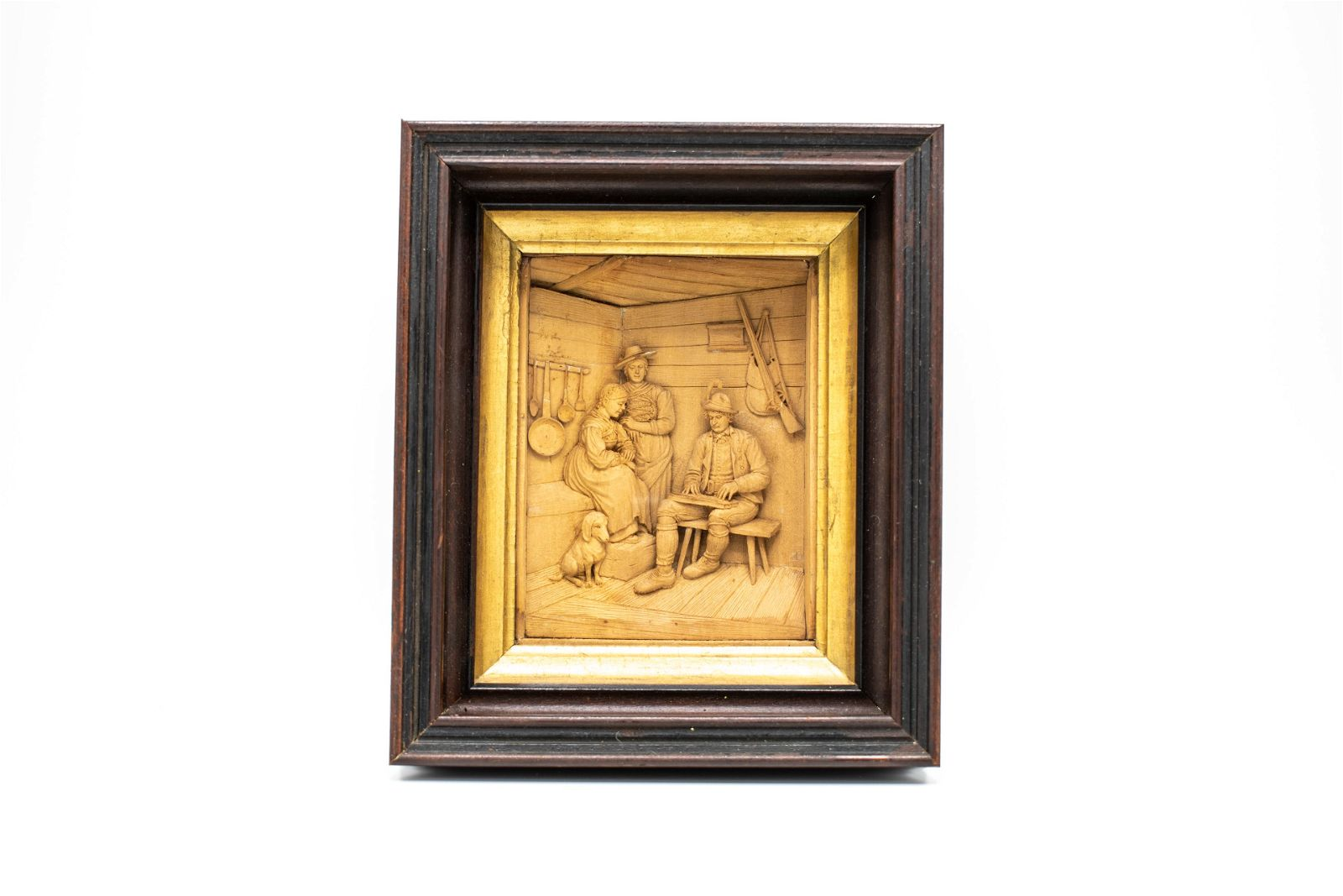 Carved Boxwood Relief of Tyrolian Scene after Defregger