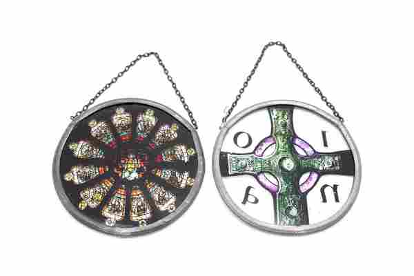 Pair of Small Circular Stained Glass Window Ornaments