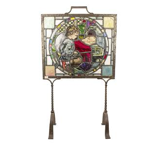 Swiss Stained Glass Fire Screen Wrought Iron Frame/Legs