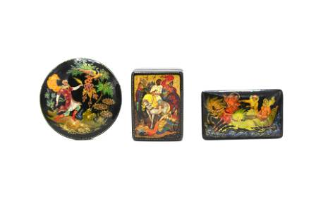 A Grouping of Three Russian Lacquered Papier Mache