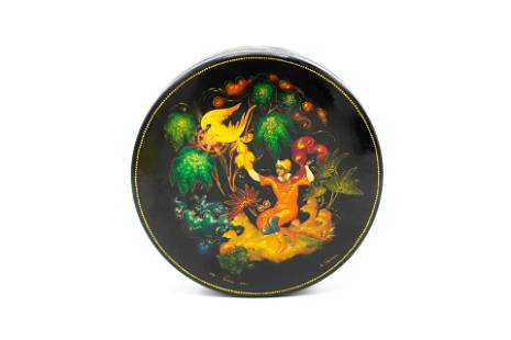 """Palekh Russian Lacquer Box """"Ivan and The Firebird"""""""