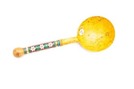 Russian Silver Enameled & Wooden Karelin Spoon