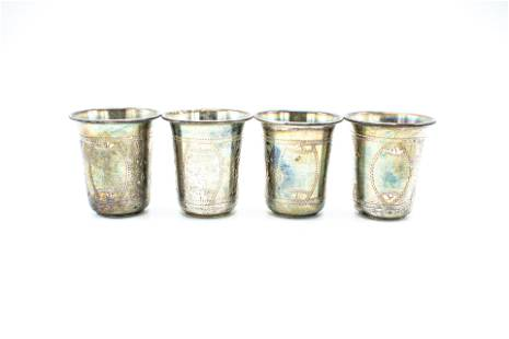 Four (4) Sterling Silver, Russian Vodka Cups