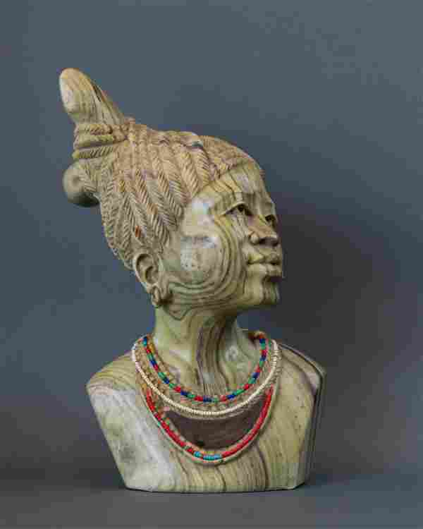 African Zulu Maiden with inlaid beadwork bust