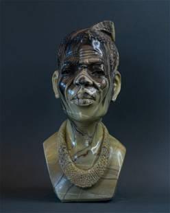 African Zulu Chief bust