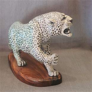 Sculptured Leopard with base