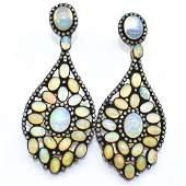 Silver Diamond  Opal  Earring