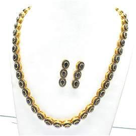 Silver Diamond  Blue Sapphire victorian Necklace