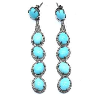 Silver Diamond Turquoise Dangling Earring