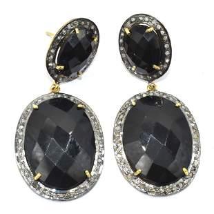Silver Diamond Black Onyx Dangling Earring