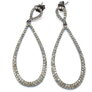 Silver Diamond Dangling Earring