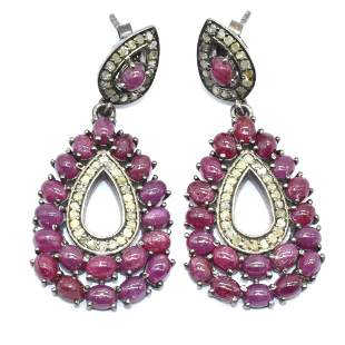Silver Diamond Ruby Earring