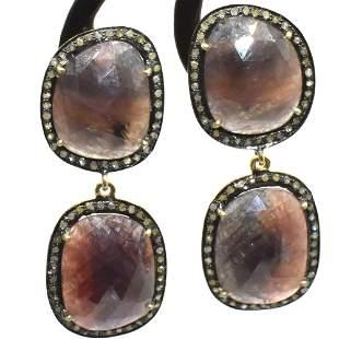 Silver Diamond Multi Colour Sapphire Dangling Earring