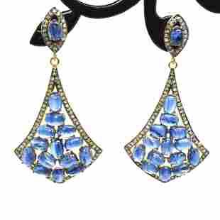 Silver Diamond Kynite Dangling Earring