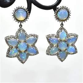 Silver Diamond  Opal Dangling Earring