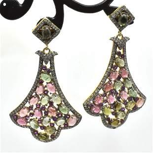 Silver Diamond Tourmaline Dangling Earring