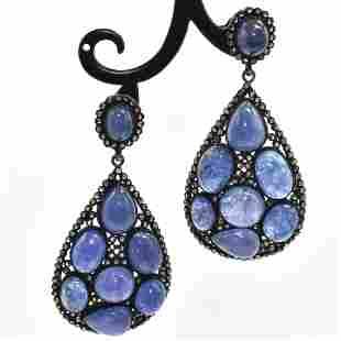 Silver Diamond Tanzanite Dangling Earring