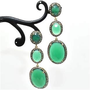 Silver Diamond Green Onyx Dangling Earring
