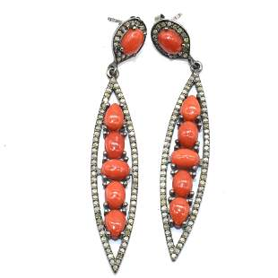 Silver Diamond Coral Dangling Earring