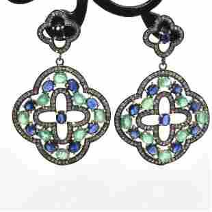 Silver Diamond Emeralr Sapphire Dangling Earring