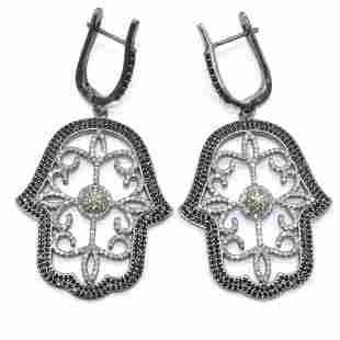 Silver Diamond Black Spinel Dangling Earring