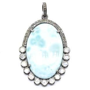 Silver Diamond  Larimar Moonstone Pendant