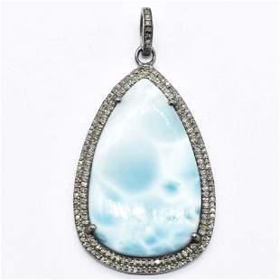 Silver Diamond  Larimar Pendant