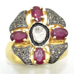 Silver Rose Cut Diamond  Ruby Ring