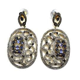 Silver Diamond Blue Sapphire  Dengling Earring