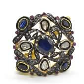 Silver Rose Cut  Diamond Blue Sapphire Ruby   Ring