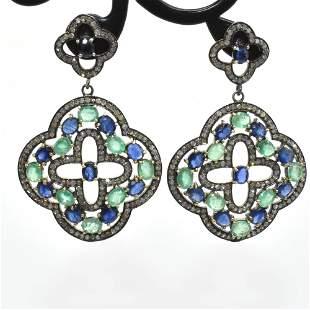 Silver Diamond Emeralr Sapphire Earring