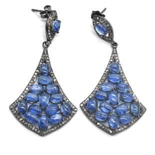 Silver Diamond Kyanite Dangling Earring