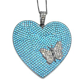 Silver Diamond Turquoise  Pendant