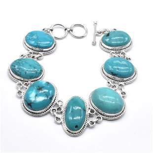 Silver Tibetan Turquoise Bracelet