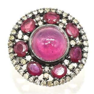 Silver Diamond Ruby Ring