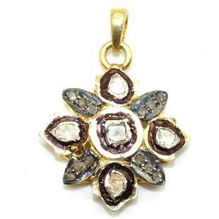 Silver Rose Cut Diamond Pendant