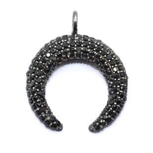 Silver Black Spinel Pendant